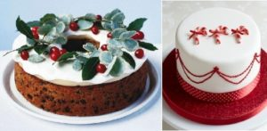 christmas cakes decorating ideas from bbc good food.com (left) and Little Venice Cake Company (right)